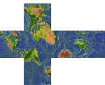Кубическая карта мира с плюсами на гранях. Гномическая проекция