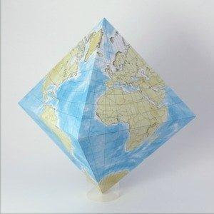 Карта мира на октаэдре