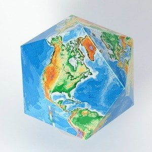 Карта мира на икосаэдре