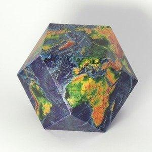 Карта мира на усеченном икосаэдре
